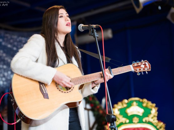 Singing at the Christmas Stage in Bournemouth Square